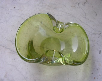 Green art glass dish possibly Murano