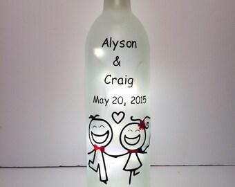 Wedding Lighted Wine Bottle Personalized Fairy lights sealed bottle. wedding table. wedding gift. wedding decor.newlyweds