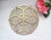 AntiqueTrivet  French Silver Plated Trivet Beautiful Pattern Stamped
