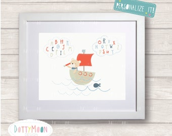 Alphabet high in the sky,boys, Childrens / Art Nursery Print,  Wall Decor,  Wall Art. Can be personalized with name.