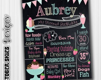 Ice Cream party Birthday Chalkboard, Social, Poster, Birthday Sign, Custom, Printable, Digital, Birthday Announcement