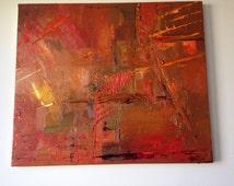 Сity. Oil on canvas original. Blue, yellow, white, green, purple,orange, red