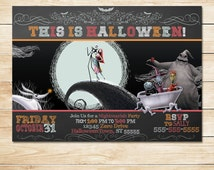 Nightmare Before Christmas Invitation Chalkboard - Chalkboard Halloween Invite - Halloween Printable - Halloween Party - Halloween Card