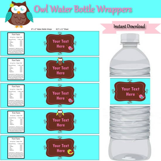 Turquoise Owl Party Water Bottle Label Wrappers Instant CV Templates Download Free CV Templates [optimizareseo.online]