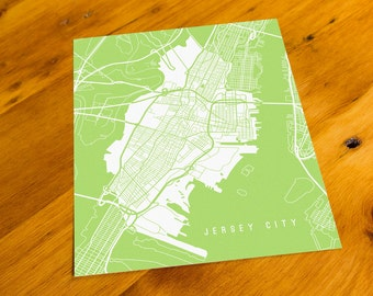 Jersey City, NJ - Map Art Print  - Your Choice of Size & Color!