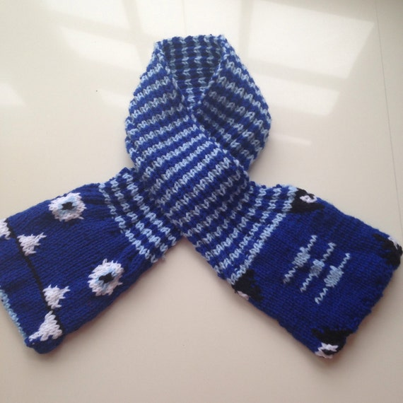 Blue Dragon Scarf, Secret Pockets, Hand Warmers, Handmade Knit Kids Scarf, Childrens Blue Winter Accessories, Gift for Boys, gift for girls