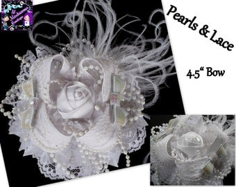 White Pearls & Lace Ott Bow