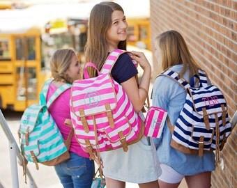 Monogrammed Stripe Campus Backpacks