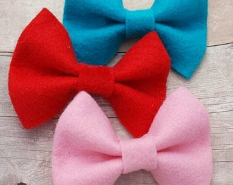 CHOOSE ANY TWO / 30+ Colors - Chunky Wool Felt Hair Bow Clip Set / Felt Bow / Felt Bow Clip / Felt Hair Clip / Felt Hair Bow Set / Felt Clip