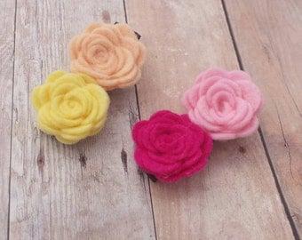 CHOOSE ANY TWO / 30+ Colors - Wool Felt Mini Rose Flower Hair Clip Set / Felt Flower Clip Set / Felt Rosette Hair Clip / Mini Rosette Clip