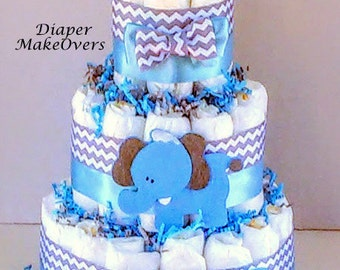 Diaper Cake - Baby Shower Centerpiece or Decoration - Blue Elephant Diaper Cake - Jungle/Safari Theme