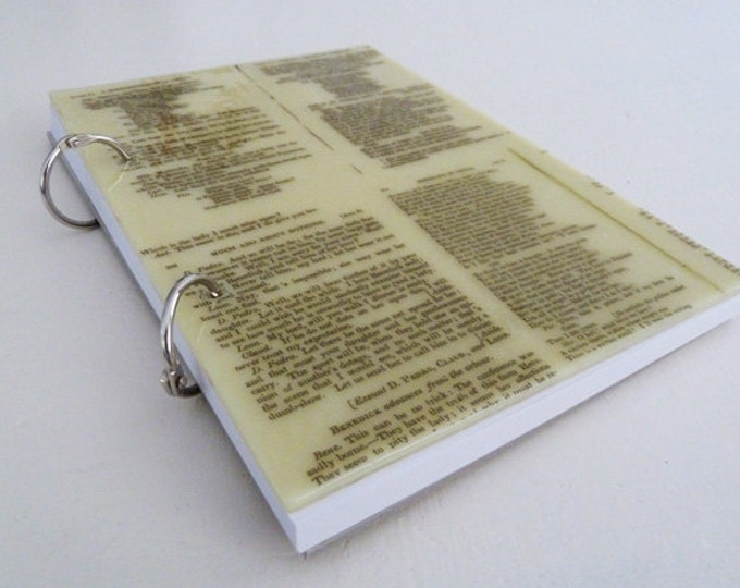 A5 glass covered sketchbook or notebook, with Shakespeare text printed on cream fused glass.