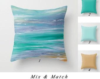 Turquoise Pillow Cover, Beach Pillows, Lumbar Pillow, Rectangular Pillow, Aqua Blue Gray Solid Pillows Cushions, Accent Pillow, Art Pillow
