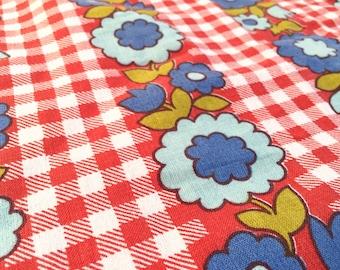 Vintage cottage fabric 50cmx120cm: Red Plaid
