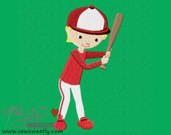 Baseball Player Embroidery Design.