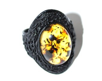 Genuine Leather Ring With Baltic Amber