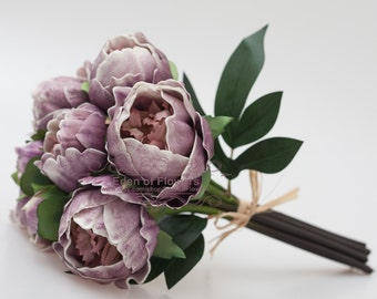 Orchid  Peony Bouquet Real Touch Flowers for Bridal Bouquets, Wedding Centerpieces, Home Decoration,  Purple peony.