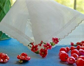 Vintage Pink Floral Bridal Handkerchief