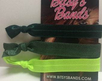 Bitsy's Bands Elastic Hair Ties Green/Neon Green