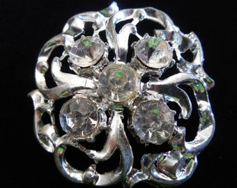 Vintage Silver Tone Rhinestone Round Pin Brooch