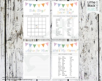 Baby Shower Game Cards x 4 Versions | Colourful Bunting Themed | Instant Download