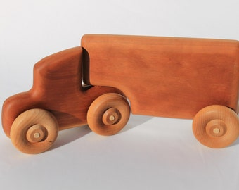Wooden Toy Semi Truck with Trailer Made of Cherry Great Children's Gift Can be Personalized
