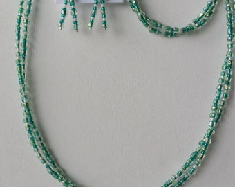 Mint green and white beaded set