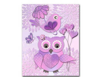 Purple owl lavender nursery wall decor bird nursery art baby girl room poster children artwork kids room decoration playroom dahlia print