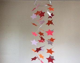 Nursery mobile, Red, Orange and white Shooting Stars paper mobile. Baby mobile, Baby Nursery mobile, Crib mobile, Modern decor, Birthday