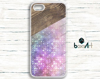 iPhone Case - Colorfull Lens Flare Bubbles Wood Texture - iPhone 4/4s iPhone 5 iPhone 5c iPhone 5s iPhone 6 iPhone 6s iPhone SE