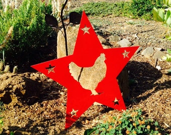 Chicken Star Metal Sign