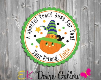 Halloween Tag, Personalized Halloween Treat Tag, Halloween Favors Tags, Party Gift Tags, Halloween Stickers, Digital Tag