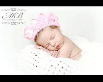 Crochet baby girl princess crown, crochet crown, photo prop, baby girl