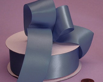 "New Single Faced Antique Blue Satin Ribbon 7/8"", 5/8""or 3/8"""