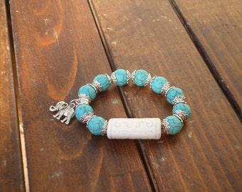 Turqoise beads Bracelet, White ceramic bead Bracelet, Turqoise beads Jewelry, Yoga Bracelet, Love gift, Gift for Her
