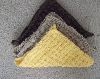3 Hand Knitted 100% cottonDishcloths/Facecloths in Brown, Tan, Yellow