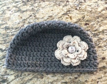 Grey Women's Crochet Beanie with Rhinestone Centered Flower