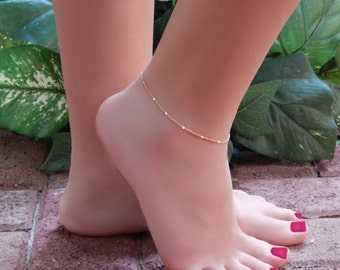 Ankle Bracelet • Simple Chain Anklet • Shiny Bar Stations with Double Link Chain • Valentines Day Gift for Her
