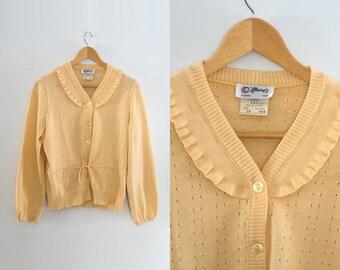Vintage cardigan jacket. Button up. Retro top. Yellow cardigan. Womens jacket.