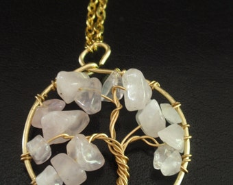 Pink Tree of Life Wire Wrapped Necklace