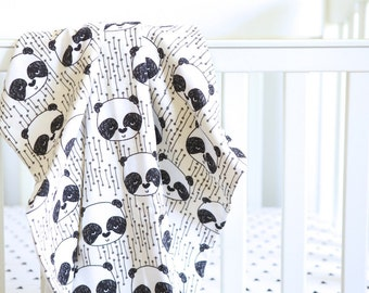 Organic Baby Blanket: Cream and White Pandas // Made-to-order