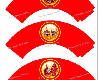 Fire Fighter Cupcake Wrappers – Digital Download – Fire Fighter Party