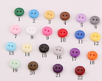 49 pc - 22 Colors You Pick Round Buttons - 10mm - Resin Buttons - Baby Buttons - Top Quality Buttons