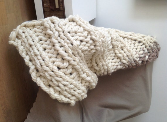 Super Chunky Knit Blanket Pattern : Super chunky knit blanket 30x53 inches by SimplyLifeHandmade