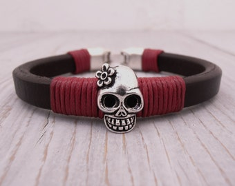 Women bracelet, Bracelet for women, Girl leather bracelet, Licorice  bracelet, Brown leather bracelet, Girl bracelet, Skull bracelet