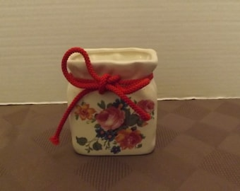 Floral Planter Vase with Red Rope Bow - Labelled & Marked