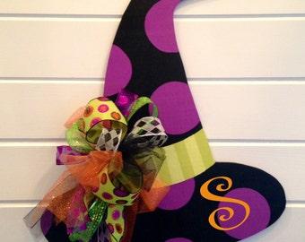 Monogrammed Witch Hat Door Hanger