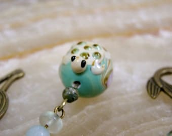 Turtle Bookmark - Bronze Metal Mermaid Beaded Bookmark with Turtle Lampwork Bead, Aqua and Green Stone Beads, Limited Edition