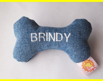 Personalized Dog Toy with Squeakers - Denim - Small, Medium, and Large Sizes
