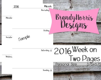 Jan 2016-Dec 2016_WO2P Week on Two Pages_Personal Size_WO2P with Notes_Dated_Weekly inserts_PRINTABLE PDF